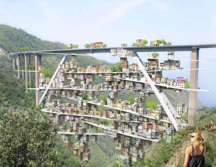Una urbanización ubicada en el arco de un viaducto