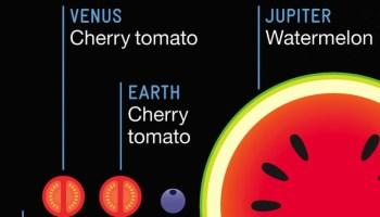 El tamaño relativo de los planetas comparado con frutas 3