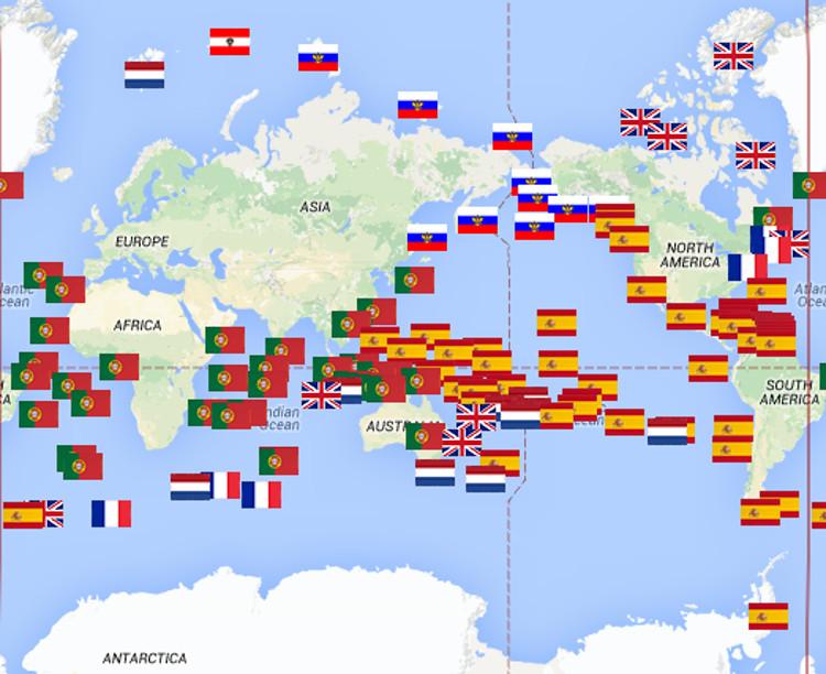 Mapa mundial de los descubrimientos por pases