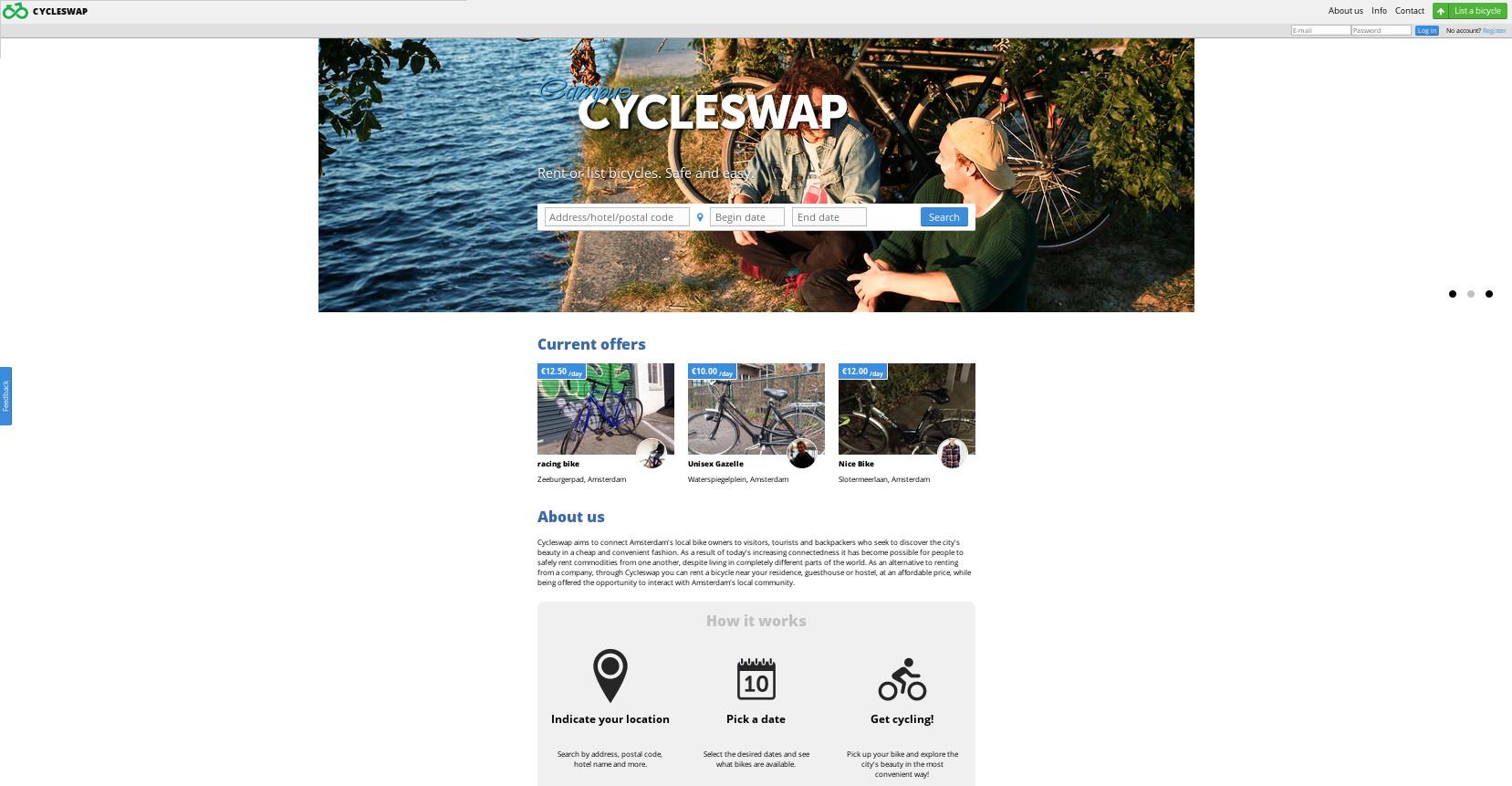 Cycleswap, un couchsurfing en Ámsterdam para alquilar bicicletas