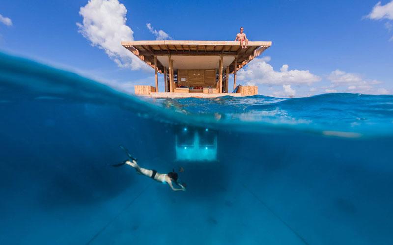 La habitación submarina del Manta Resort en Tanzania