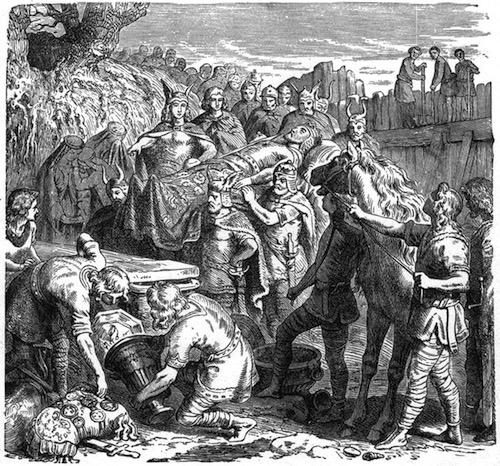 Alarico siendo enterrado, por Heinrich Leutemann (1895)