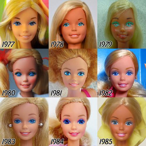 Evolucion Barbie largo 56 años 2