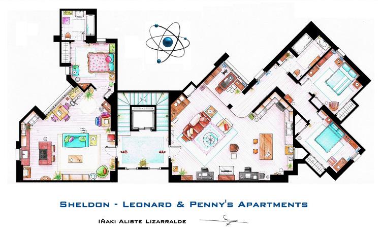 Los planos de los apartamentos de The Big Bang Theory y otras series