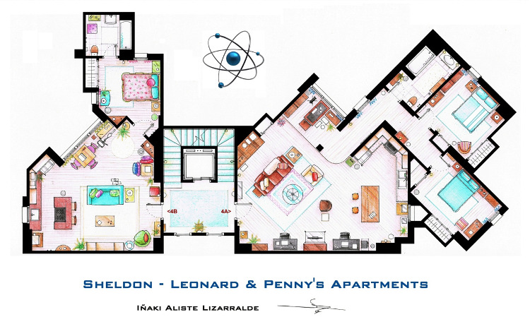 Los planos de los apartamentos de The Big Bang Theory y otras series