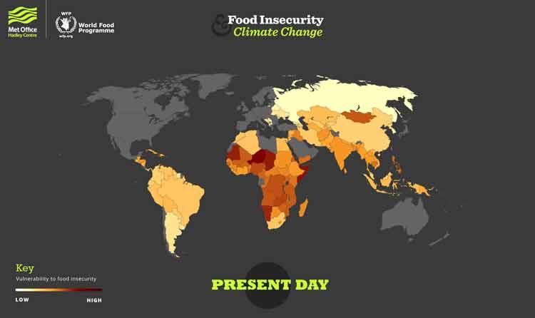 Un mapa muestra como los desastres climáticos conducen al hambre en el mundo