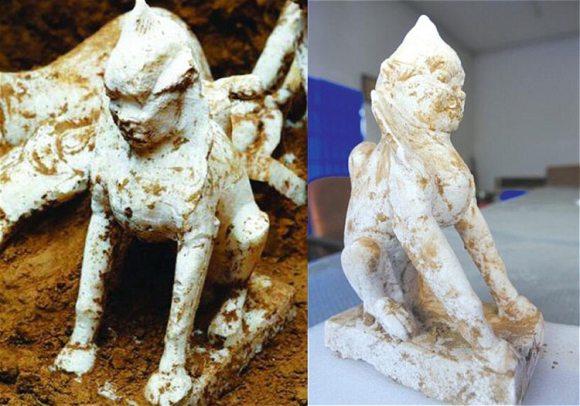 Encuentran esfinge milenaria tumba china
