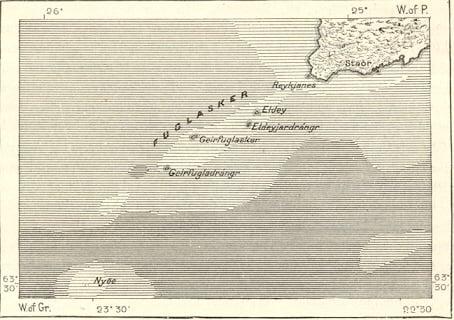 Situación de la Isla de Geirfuglasker, en Islandia