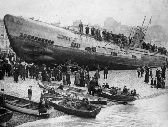 Submarino aleman varado Inglaterra tras I Guerra Mundial