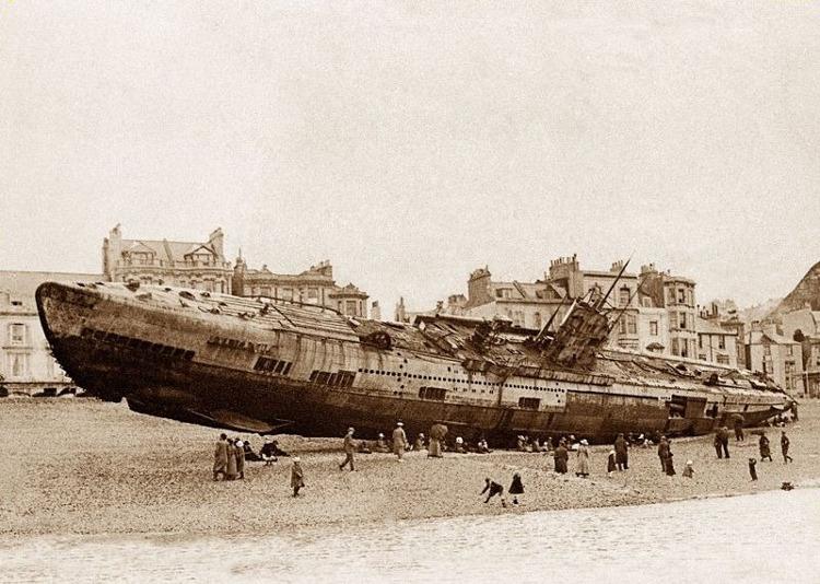 El submarino alemán varado en Inglaterra tras la Primera Guerra Mundial