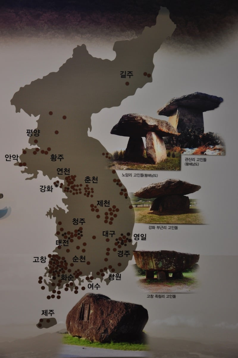 Situación de los dólmenes en la Península de Corea