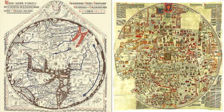 Los mapamundis de Hereford y Ebstorf, los mapas medievales más grandes del mundo