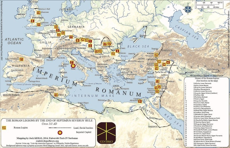 Legiones romanas hacia 211 d.C. (clic para ampliar)