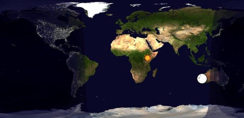 Qué son los puntos subsolar y sublunar de la Tierra y cómo seguirlos en tiempo real