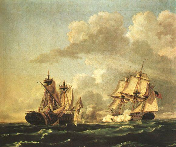 El USS United States captura al HMS Macedonian, por Thomas Birch