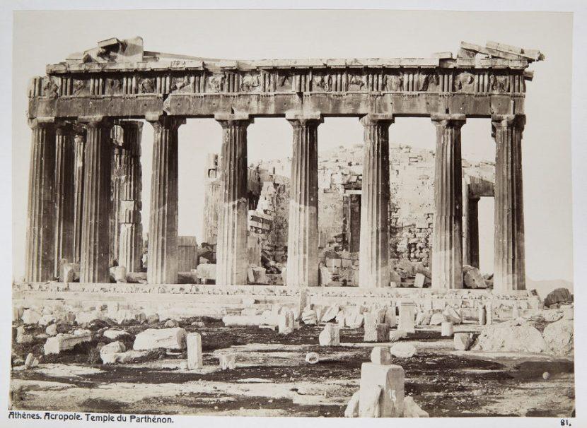 Estado del Partenón en 1896. Foto: Wikimedia