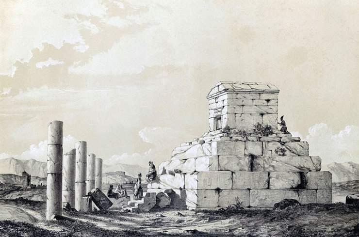 La tumba de Ciro en 1840, por Eugene Flandin