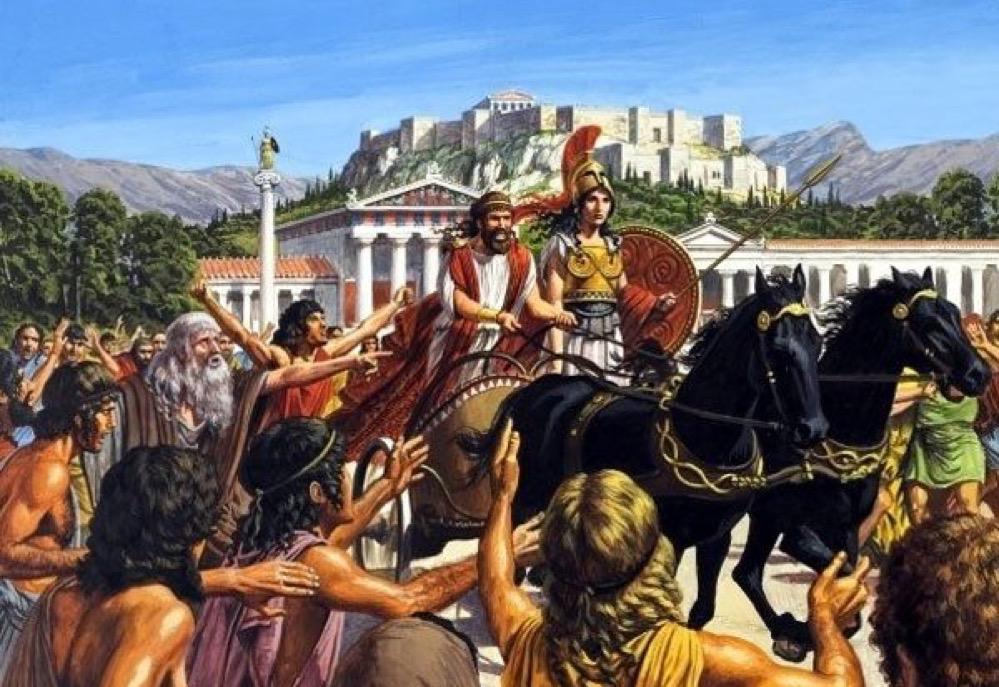 Cómo Pisístrato engañó dos veces a los atenienses para convertirse en tirano