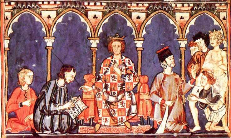 Alfonso X y su corte / foto Dominio público en Wikimedia Commons