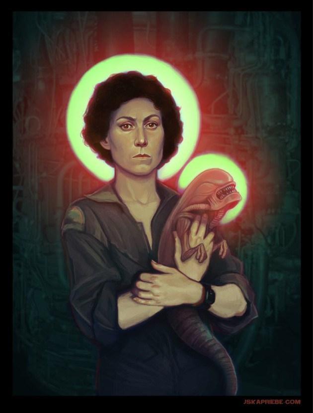 Heroínas de ciencia-ficción retratadas como iconos religiosos