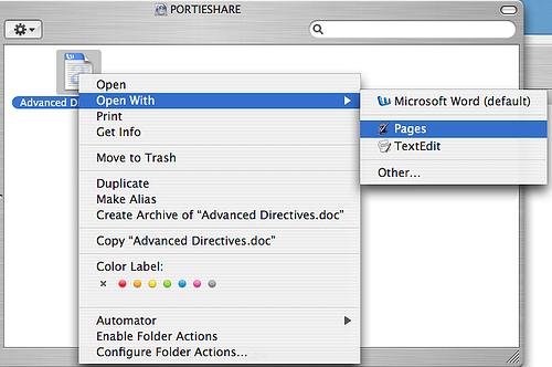 Abrir un archivo con una aplicación que no es la predeterminada en Mac OS X