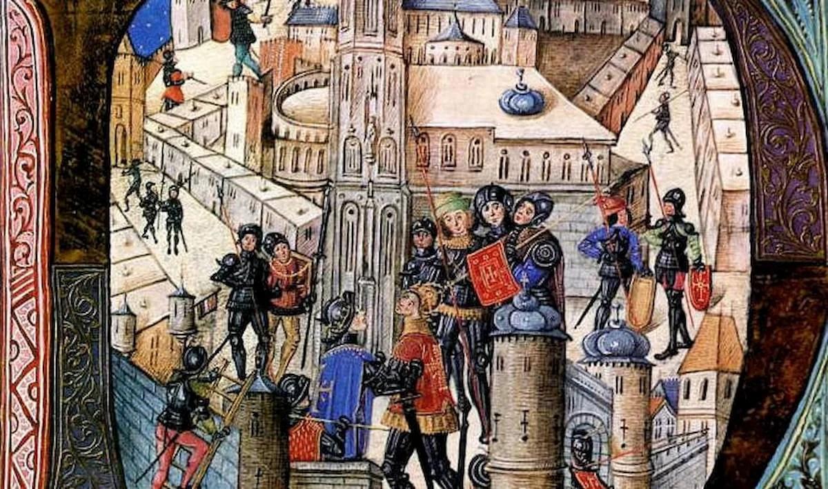 El ejército Negro en un castillo, según un libro medieval
