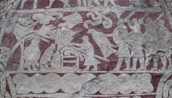 El Valknut en una de las piedras de Stora Hammar