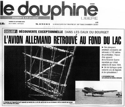 Article du Dauphiné libéré consacré à la première plongée sur l'épave du FW 58C