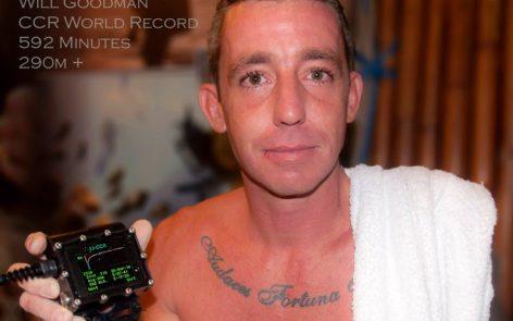 record du monde en plongée recycleur pour Will Goodman à 290 m