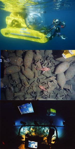 """Le Remora 2000 lors de la mission à Marseille, les amphores sur l'épave romaine C """"Titanic"""" de Port-Miou et le site de l'épave vu du sous-marin."""