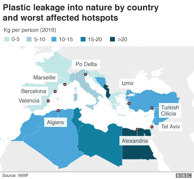 Rejet plastique dans la nature par pays et les points les plus touchés