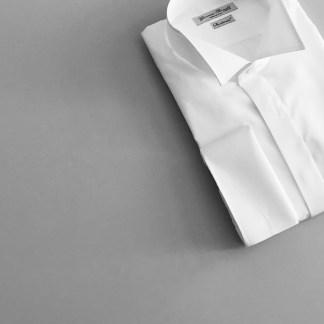 Slim Fit – Smokinghemd mit Vatermörder Kragen – Popeline Two Ply