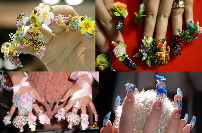 Weird Strange Nail Art Anese Crazy Wild Bizarre Decorated Nails Long Fake