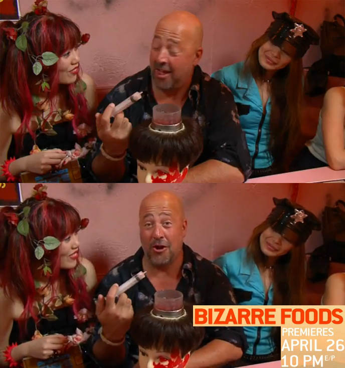 ANDREW ZIMMERN BIZARRE FOODS: NEW EPISODES SNEAK PEEK! TRAVEL CHANNEL FOOD HOST IN TOKYO, TV SHOW PREMIERES APRIL 26. extended sneak peek of the new season of Bizarre Foods With Andrew Zimmern, premiering Monday, April 26 at 10 E/P on Travel Channel. gross  strange  weird  meals  travel