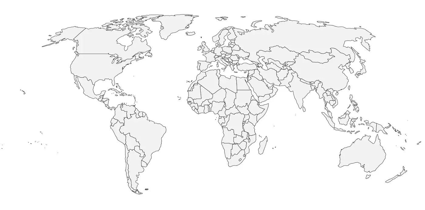 Carte du monde vierge à imprimer et à remplir avec noms