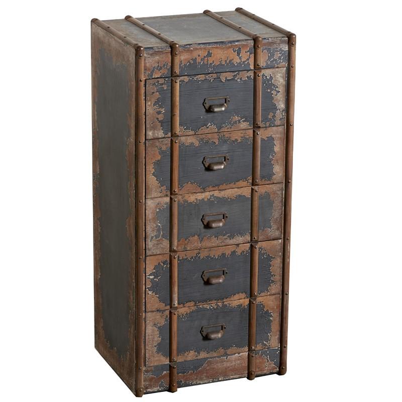 Cassettiera originale vintage in legno marrone con cinque
