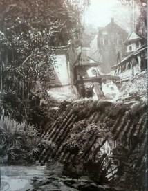 Ruinas en blanco y negro