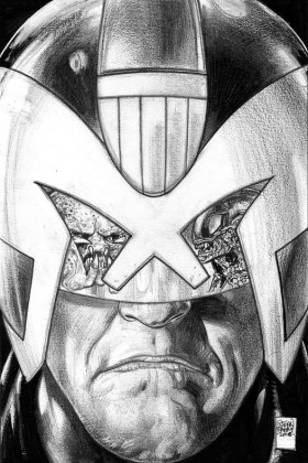 Predator vs. Judge Dredd vs. Aliens Portada sin color de Glenn Fabry