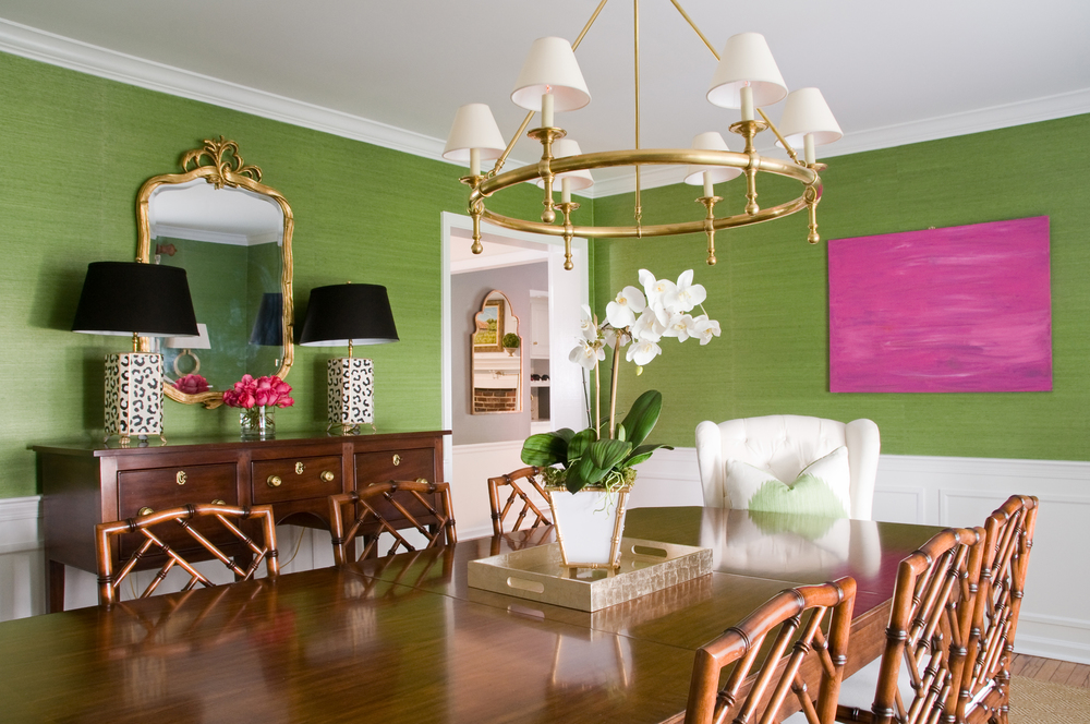 dining room dressed in olive green 01