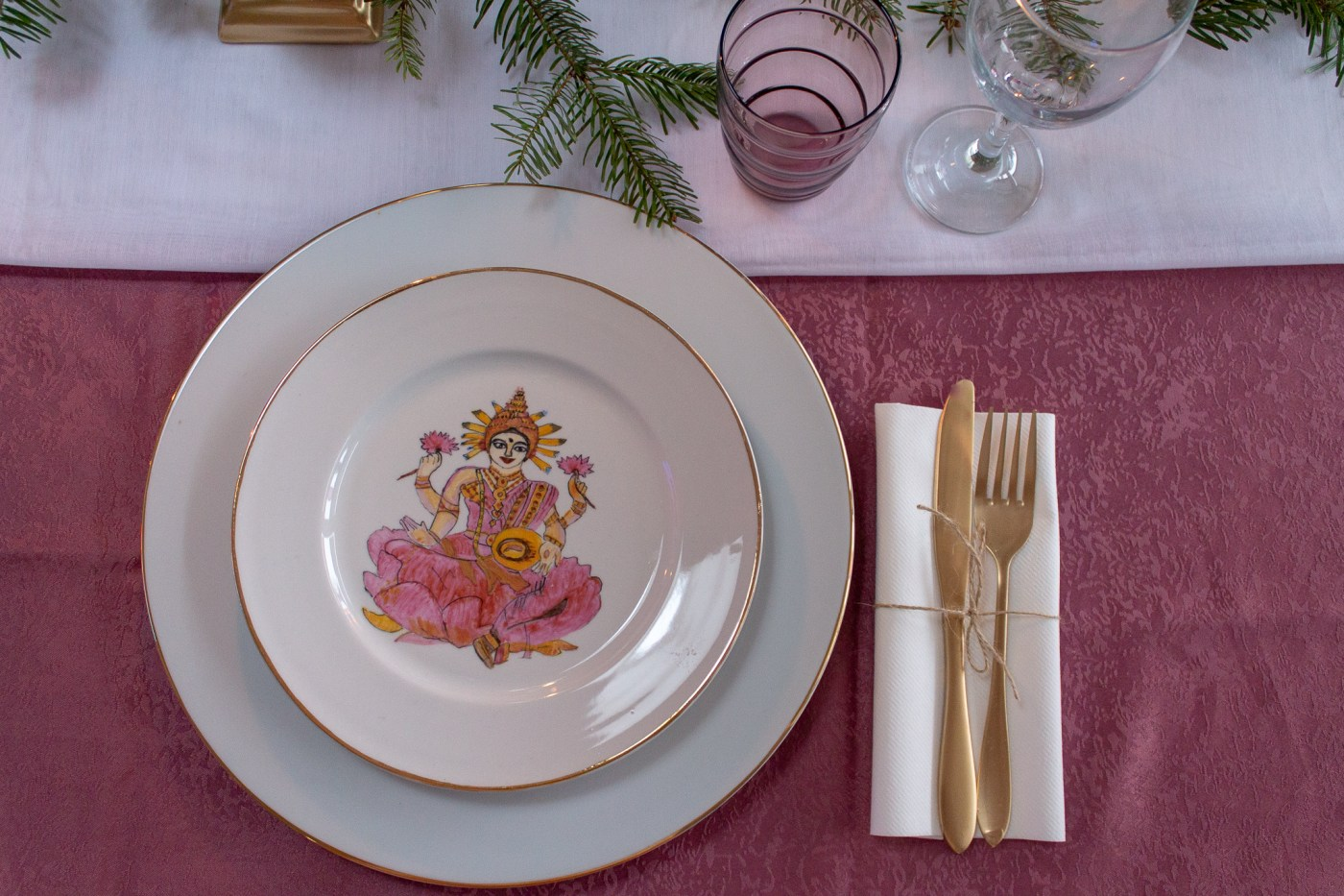My birthday Table setting with soft touches of color in the middle of winter 04