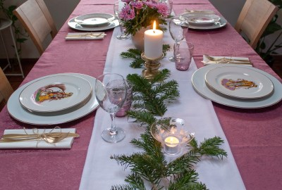 My birthday Table setting with soft touches of color in the middle of winter 06