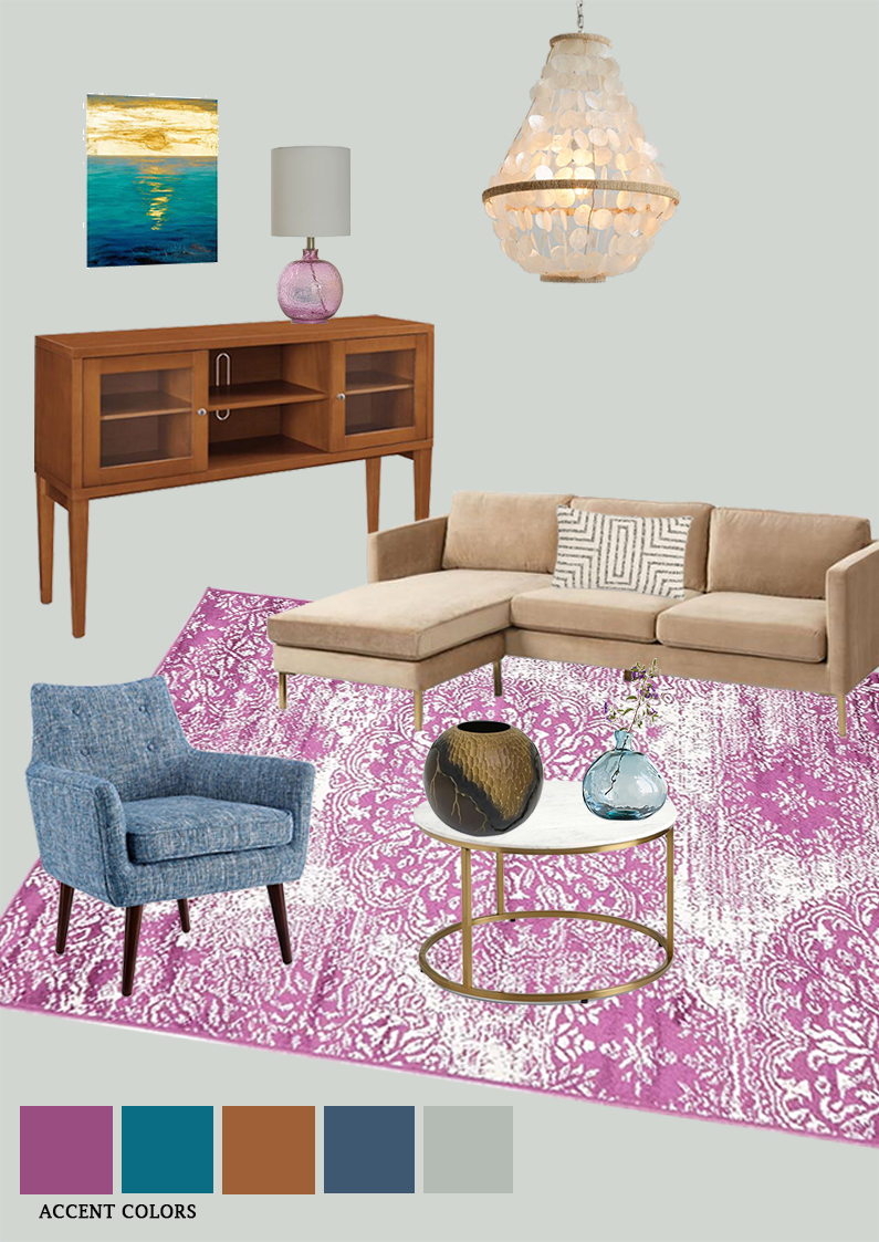 Room inspiration An eclectic living room with pink and blue color accents 01
