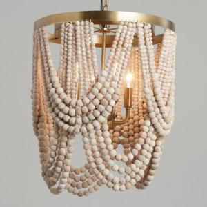 Wooden beads chandeliers and ceiling lamps 01