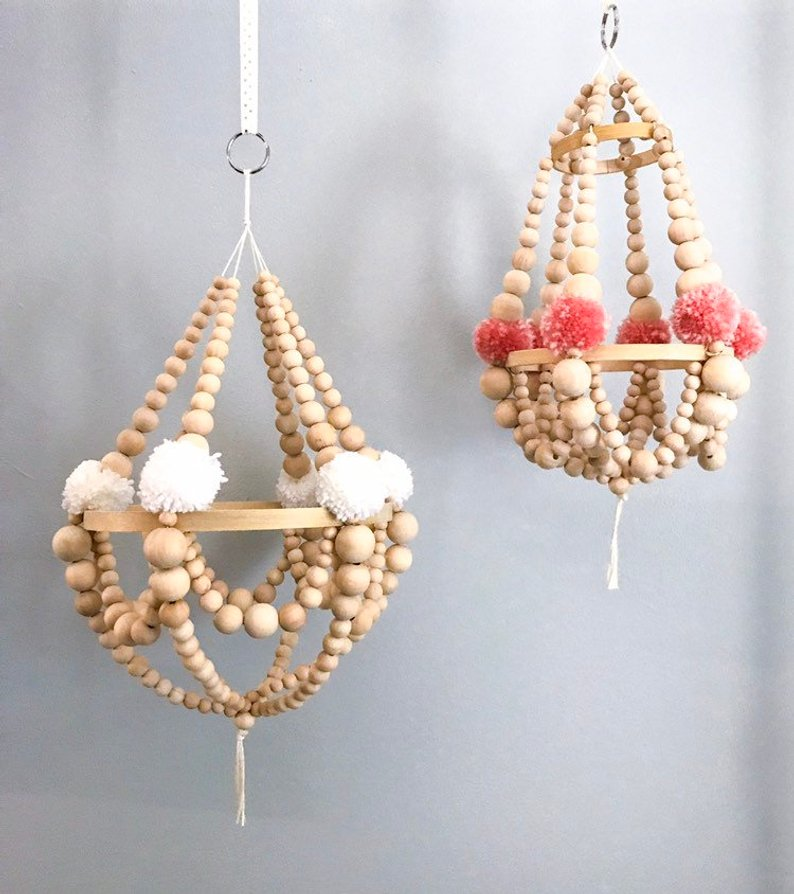 Wooden beads chandeliers and ceiling lamps 04