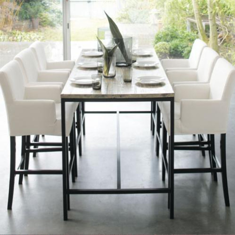 long island table a manger haute en sapin et metal 10 personnes l210
