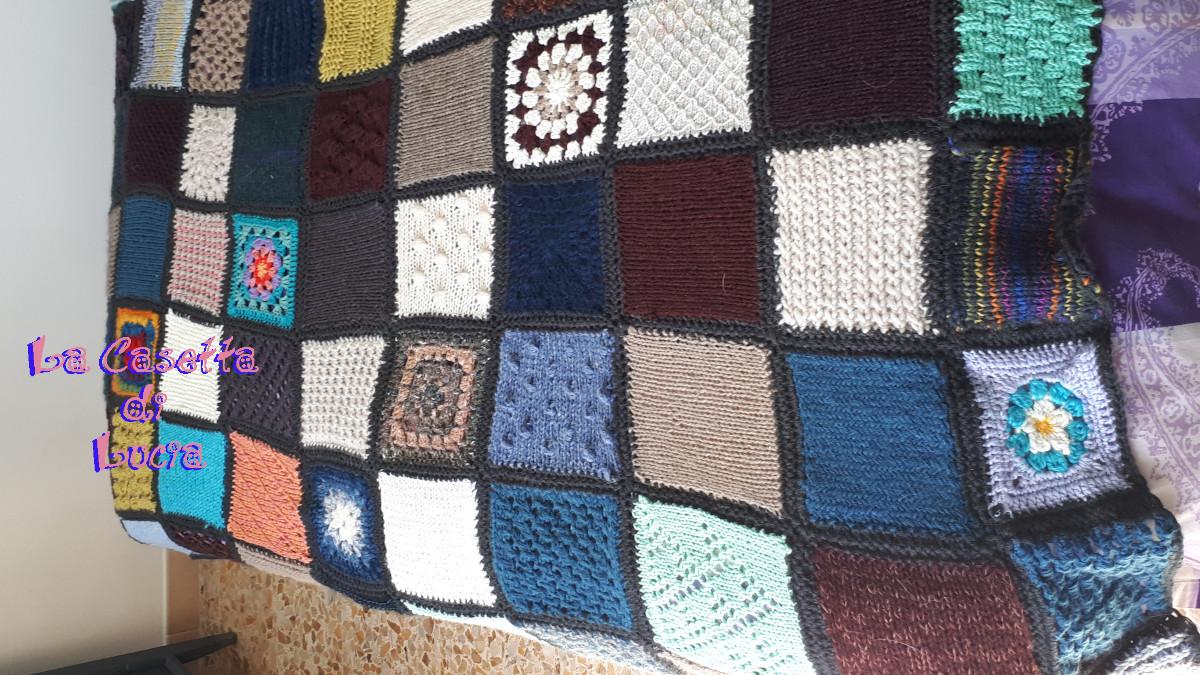 Plaid Fatto Ai Ferri progetto coperta piastrelle ai ferri e uncinetto - la