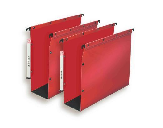 dossier suspendu l oblique polypropylene armoire dos 80mm rouge cerise paquet de 10