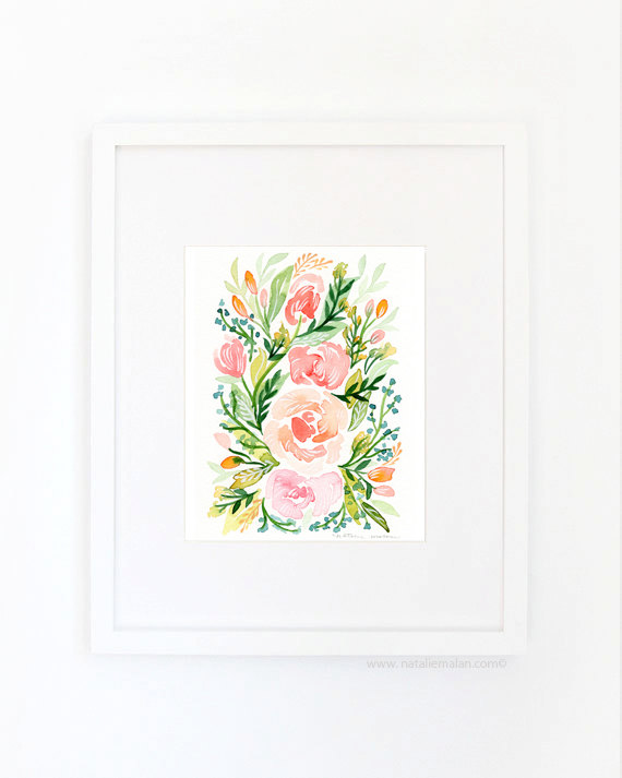 watercolor blush roses