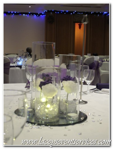 chair cover hire croydon green leather laceys event services galleries and photos we supplied our covers with cadbury purple organza sash trio of vase centrepiece led floralyte napkins