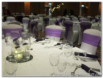 chair cover hire croydon vinyl dining chairs laceys event services galleries and photos we supplied fitted white covers woth cadbury purple organza sashes matching linen napkins trio of vase centrepieces candles
